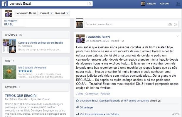 Publicação do empresário Leonardo Buzzi em rede social, a respeito da atitude do morador de rua do DF (Foto: Facebook/Reprodução)