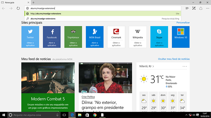 Usuário precisa acessar site para baixar extensões no Microsoft Edge (Foto: Reprodução/Elson de Souza)