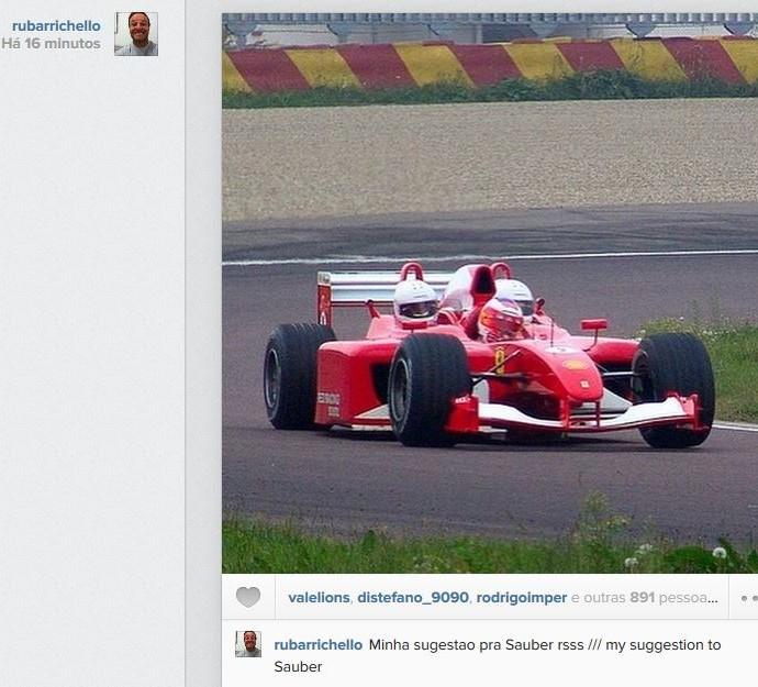 Rubens Barrichello brinca em post (Foto: Reprodução/Instagram)