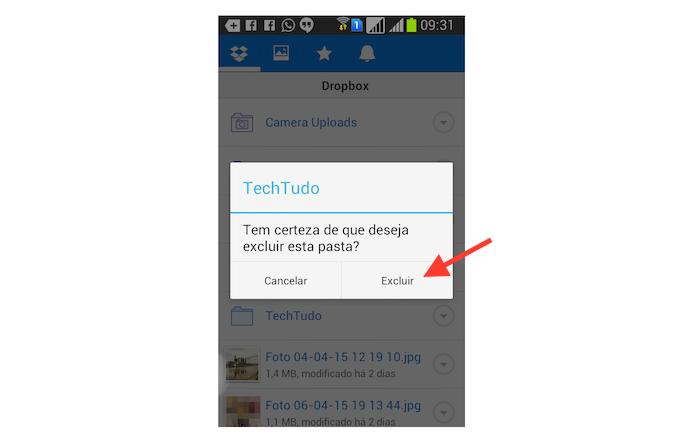 Excluindo uma pasta no Dropbox para Android (Foto: Reprodução/Marvin Costa)