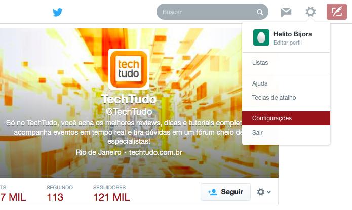 Acessando as configurações do Twitter (Foto: Reprodução/Helito Bijora)