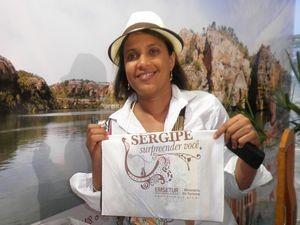 Silvinha fazendo o que mais gostava: divulgar Sergipe (Foto: Fredson Navarro/G1 SE)