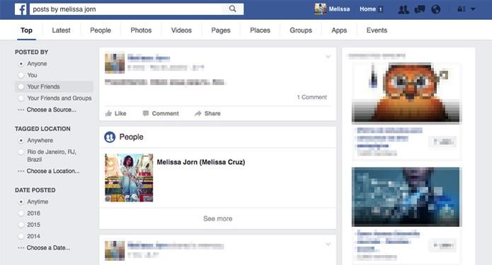 Em inglês, filtro de buscas mais complexo ajuda a encontrar posts no Facebook (Foto: Reprodução/TechTudo)