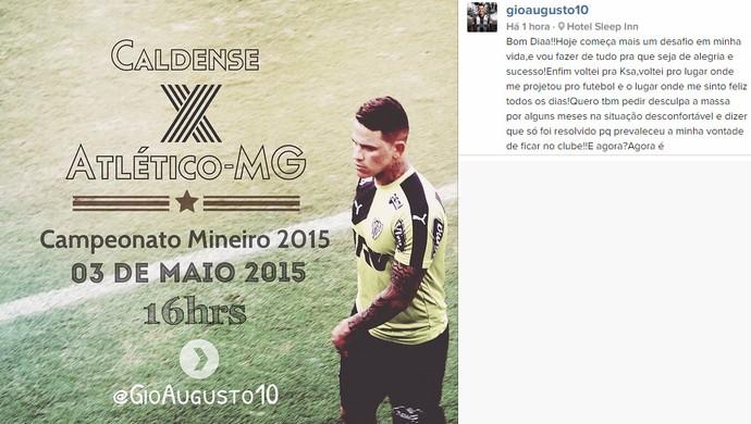 Giovanni Augusto, meia do Atlético-MG (Foto: Reprodução / Instagram)