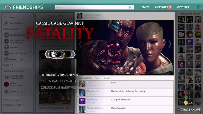 Fatality conta com tweets do criador do game e de outros personagens (Foto: Reprodução)
