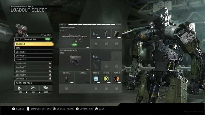 Selecione Loadouts em Call of Duty: Infinite Warfare (Foto: Reprodução/Murilo Molina)
