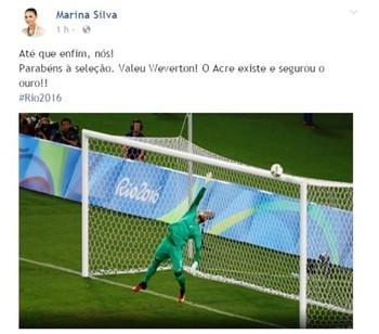 Ex-senadora Marina Silva homenageia Weverton em rede social (Foto: Reprodução/Facebook)