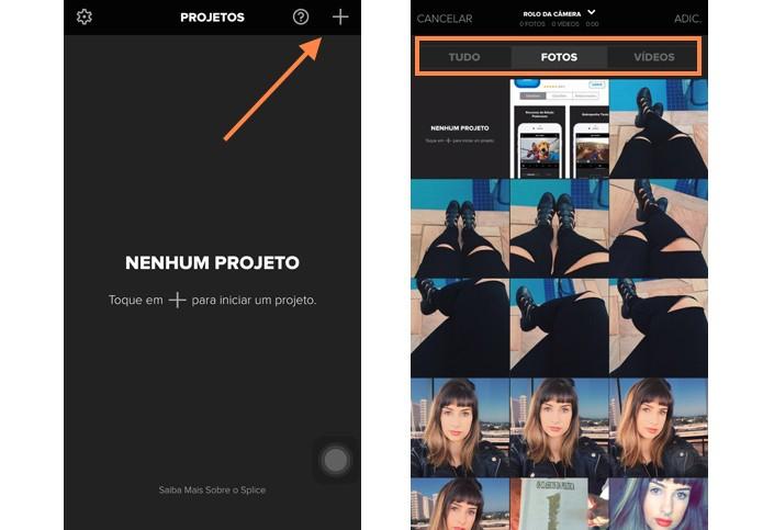 Inicie um novo projeto no Splice com as fotos e vídeos de sua preferência (Foto: Reprodução/Melissa Cruz)