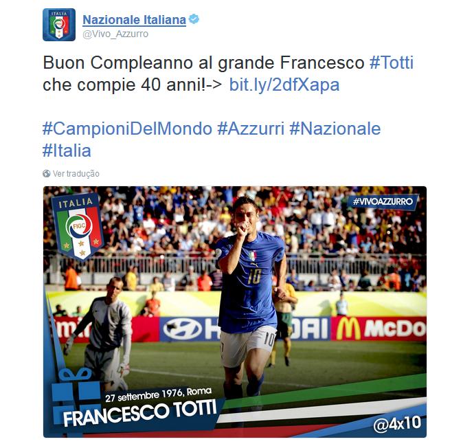 BLOG: Companheiros e rivais fazem homenagens a Totti por aniversário de 40 anos