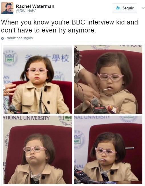 """""""Quando você sabe que é a criança da entrevista da BBC e nem precisa mais tentar"""" (Foto: Reprodução Twitter)"""