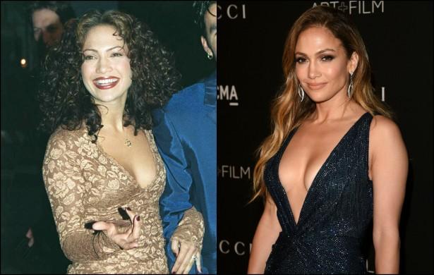 Jennifer Lopez tinha 27 anos na foto à esquerda, clicada em abril de 1997. Hoje a musa porto-riquenha tem 45 e não apenas mantém o corpaço em dia como adotou um estilo mais discreto (além de maquiagem bem mais leve). (Foto: Getty Images)