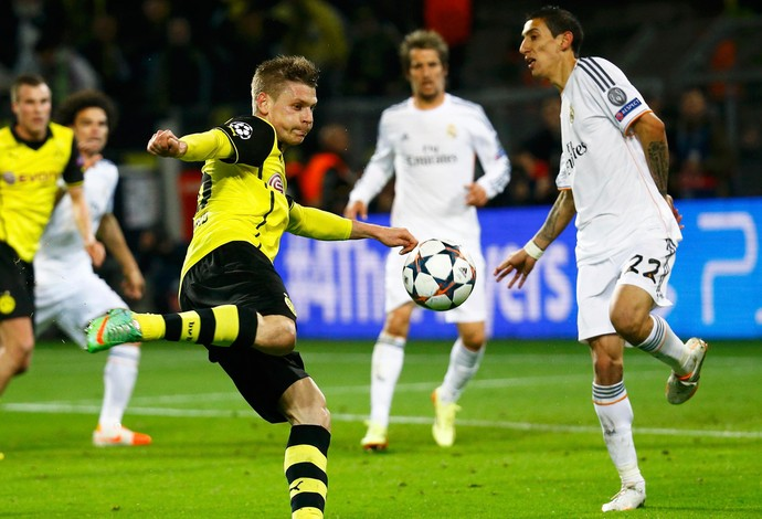 Piszcek e Di Maria, Borussia Dortmund x Real Madrid (Foto: Reuters)