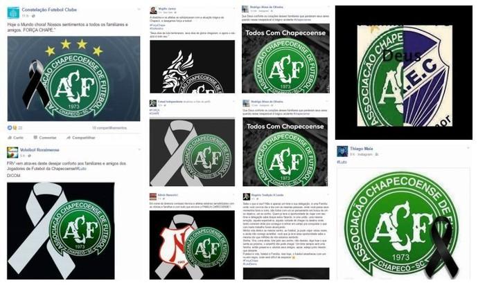 Desportistas, técnicos e clubes de RR prestam homenagem a Chapecoense (Foto: Reprodução/Redes sociais)