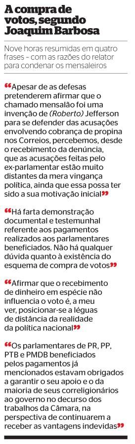 A compra de votos, segundo Joaquim Barbosa (Foto: reprodução)