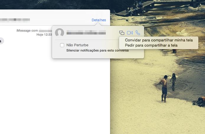Opções de compartilhamento de tela do aplicativo Mensagens do Yosemite (Foto: Reprodução/Marvin Costa)