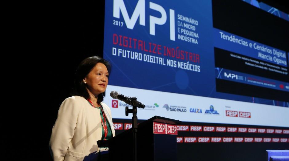 Marcia Ogawa durante o MPI 2017 – Seminário da Micro e Pequena Indústria (Foto: Ayrton Vignola/Fiesp)