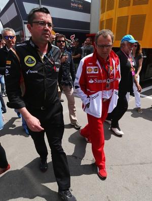 Eric Boullier e Stefano Domenicali no GP da Espanha (Foto: Getty Images)