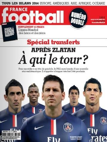 Capa da France Football com Messi, Di María, Pogba, Luis Suárez e Cristiano Ronaldo com a camisa do Paris Saint-Germain