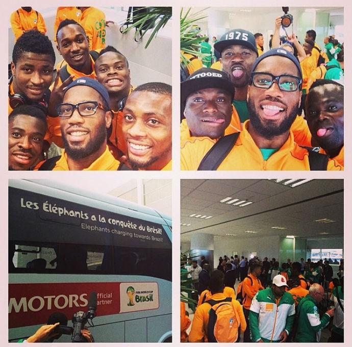 Drogba comanda as selfies na chegada da Costa do Marfim (Foto: Reprodução/Instagram)