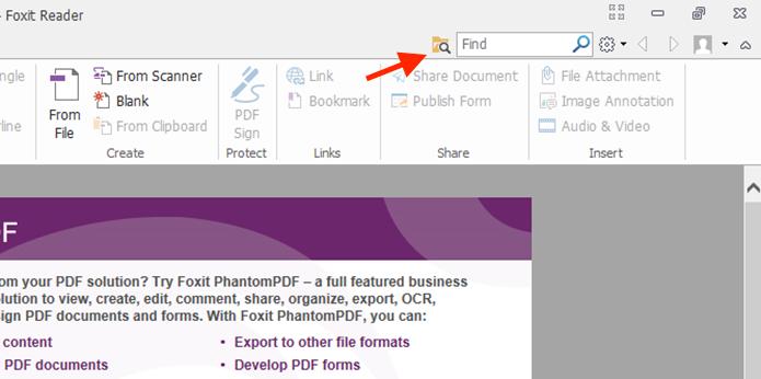 Acessando a ferramenta de pesquisa avançada do Foxit Reader (Foto: Reprodução/Marvin Costa)