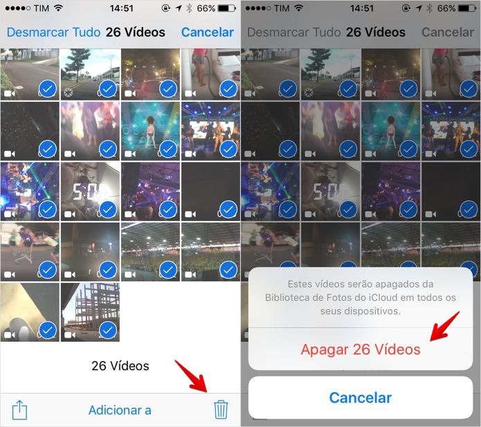 Apagando todos os vídeos do celular de uma vez (Foto: Reprodução/Helito Bijora)