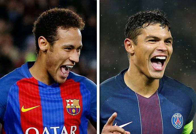 Neymar e Thiago Silva (Foto: Infoesporte)