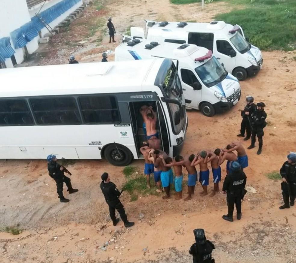 Para realizar as obras de recuperação dos pavilhões, Sejuc transferiu os presos de Alcaçuz para o presídio Rogério Coutinho Madruga, que faz parte do complexo penal (Foto: Sejuc/Divulgação)