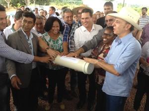 Lançamento da pedra fundamental do Hospital de Câncer da Amazônia (Foto: Karla Cabral/G1)