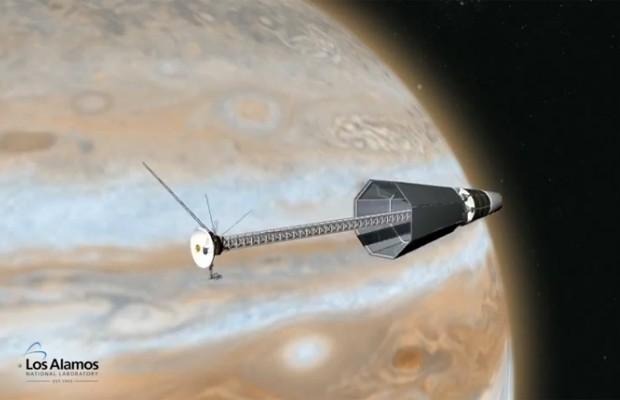 Ilustração mostra sonda de exploração espacial em Júpiter que pode ser movida a energia nuclear (Foto: Reprodução/Los Alamos National Laboratory)