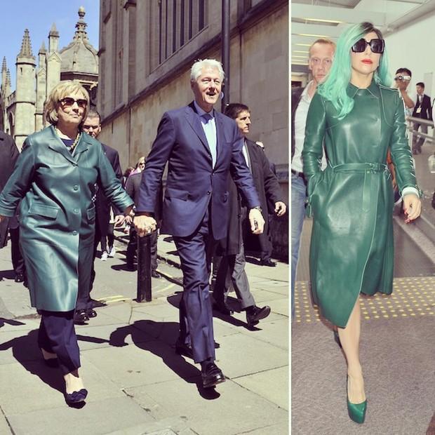 Hillary Clinton e Lady Gaga: casaco de couro verde (Foto: Reprodução)