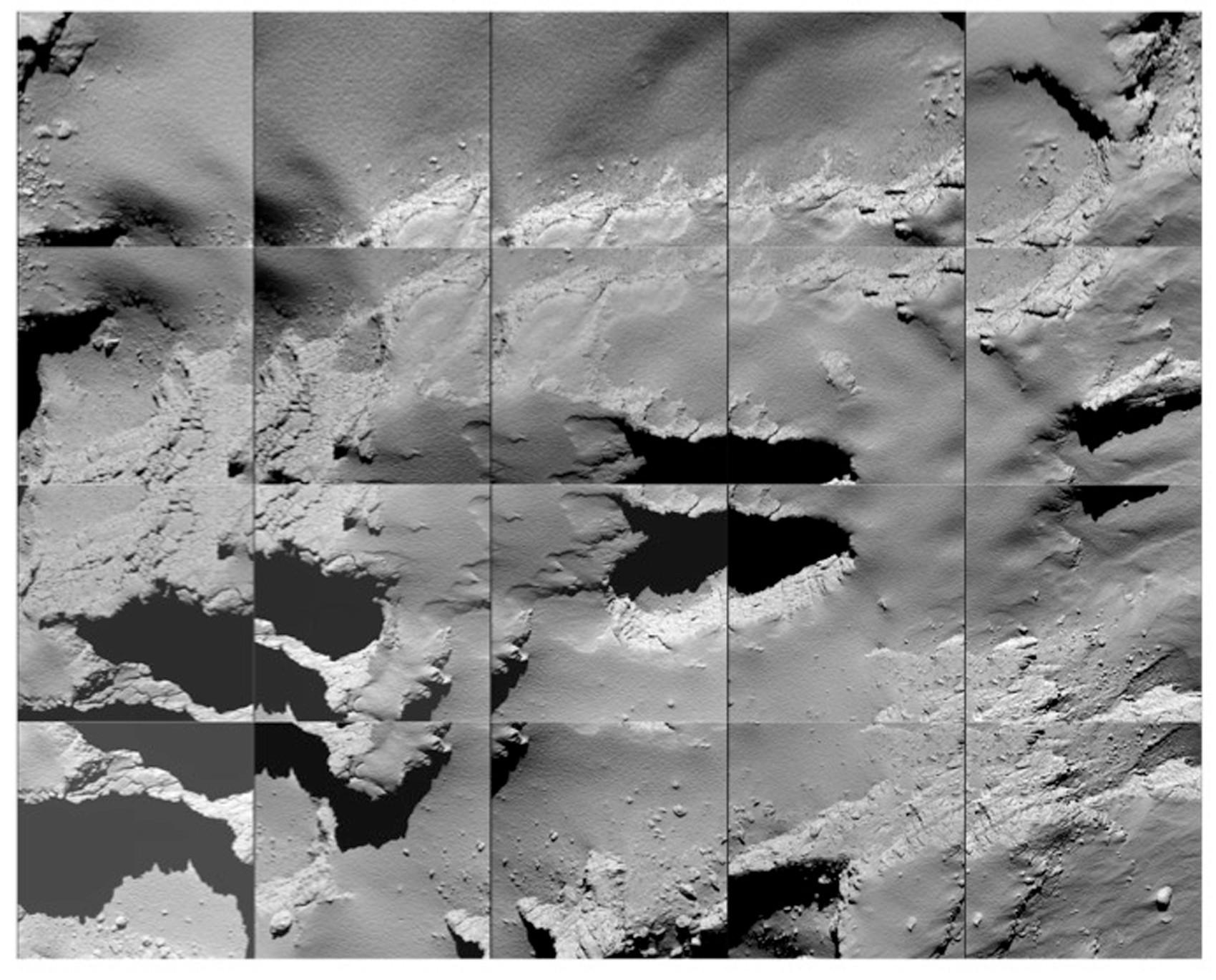 Local de pouso no cometa; imagem foi tirada enquanto Rosetta descia
