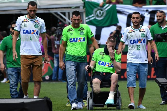 CHAPECOENSE, Neto, Follman e Alan Ruschel Arena Condá (Foto: AFP)