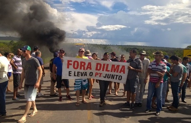 Protesto em Posse, Goiás (Foto: Wender Nixon/Arquivo Pessoal)
