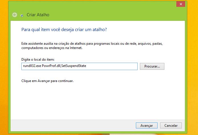 Colocando o comando que faz o Windows hibernar (Foto: Reprodução/Edivaldo Brito)