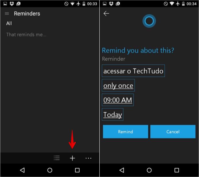 Adicionando lembre à Cortana (Foto: Reprodução/Helito Bijora)