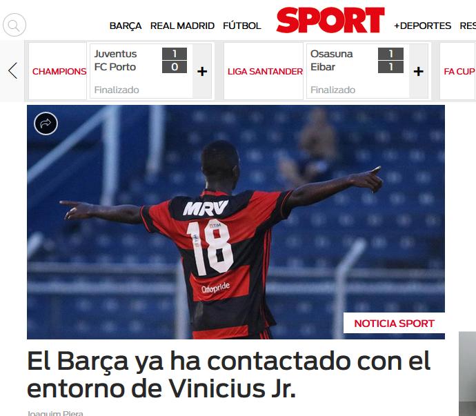 Capa do Sport.es dá destaque a interesse do Barcelona a Vinicius Jr., do Flamengo (Foto: Reprodução)