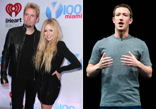 A cantora Avril Lavigne com seu ex-marido e o empresário Mark Zuckerberg (Foto: Getty Images)
