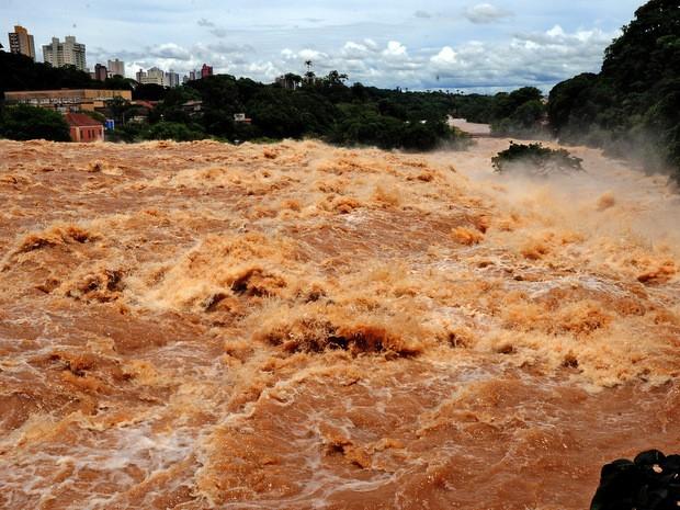 Rio Piracicaba estava cheio durante o verão de 2011 (Foto: Mateus Medeiros)