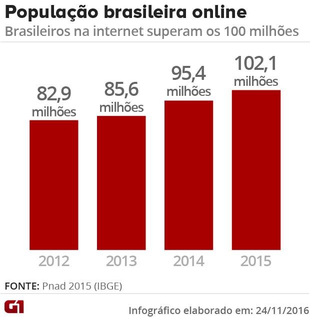 Brasil supera marca de 100 milhões de internautas, diz IBGE (Foto: G1)