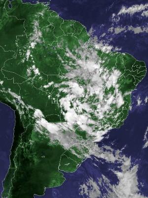 Imagem de satélite capturada na tarde desta sexta-feira (25) (Foto: Reprodução/Cptec/Inpe)