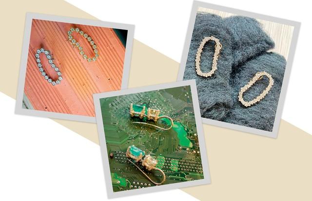 Joias de ouro, diamantes e esmeraldas criadas por Ana Khouri e apresentadas sobre tijolos, placas de computador e palha de aço (Foto: Shutterstock, Divulgação e Reprodução Instagram)