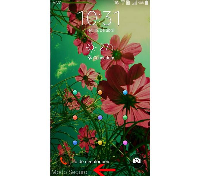 O sistema do Android foi inicializado em modo de segurança. Para voltar ao normal basta reiniciar o dispositivo (Foto: Reprodução/Aline Batista)