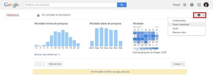 Destaque para botão de configurações da página do Google (Foto: Reprodução/ Raquel Freire)