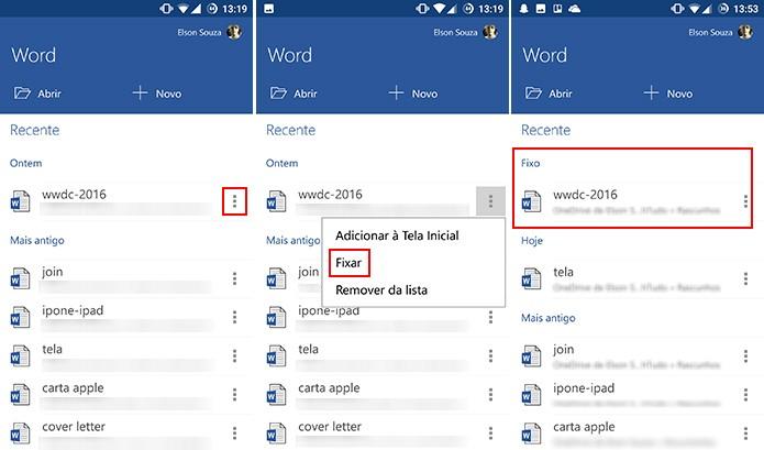 Office para Android também oferece opção de fixar atalho no próprio aplicativo (Foto: Reprodução/Elson de Souza)