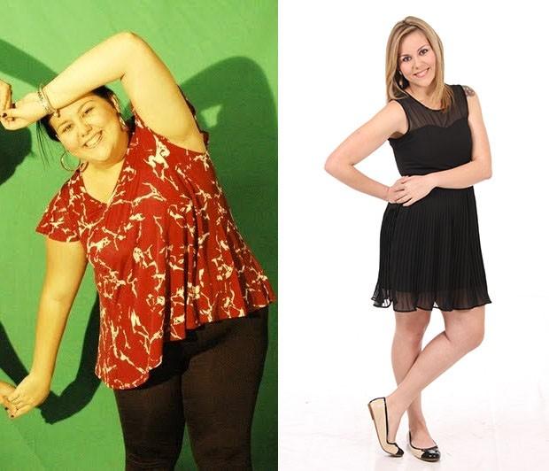 Camila Iara Marco -antes e depois de emagrecer 51 quilos (Foto: Arquivo pessoal)