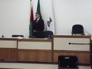Fórum de Santa Maria, RS, audiências do caso do incêndio da boate Kiss (Foto: Marcio Luiz/G1)