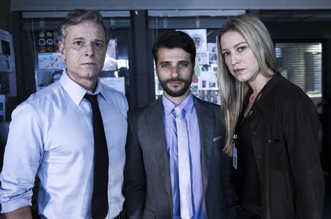 Marcello Novaes, Bruno Gagliasso e Luana Piovani em 'Dupla identidade' (Foto: Estevam Avellar/TV Globo)