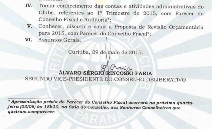Blog Torcida Coritiba - Convocação Conselho Deliberativo parecer Conselho Fiscal Coritiba