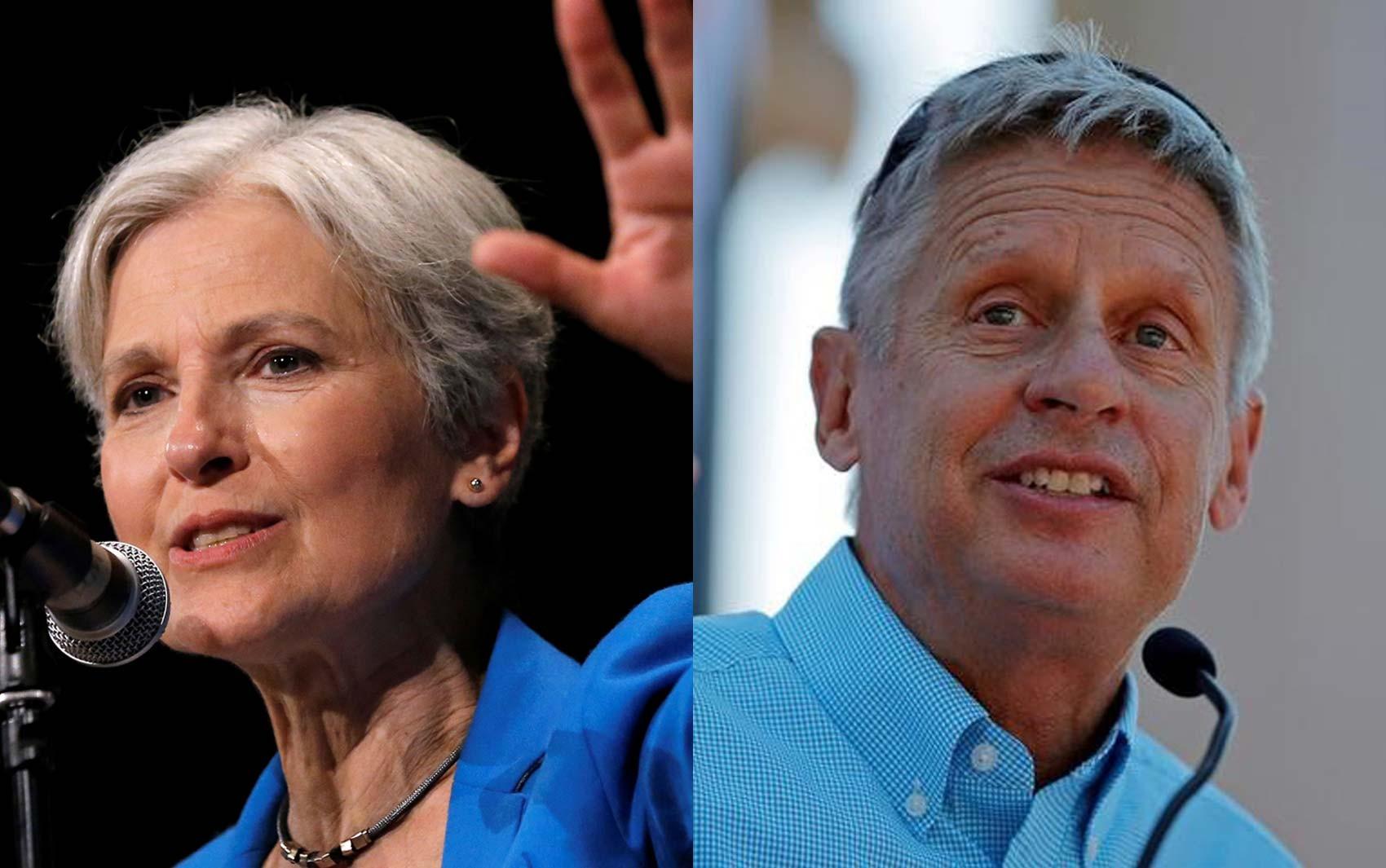 Os candidatos às eleições presidenciais nos EUA Jill Stein, pelo Partido Verde, e Gary Johnson, pelo Partido Libertário, em imagens de arquivo (Foto: REUTERS/Jim Young/ Brian Snyder)