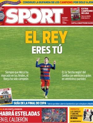 """BLOG: Jornal coloca Messi como """"dono da coroa"""" na Copa do Rei"""